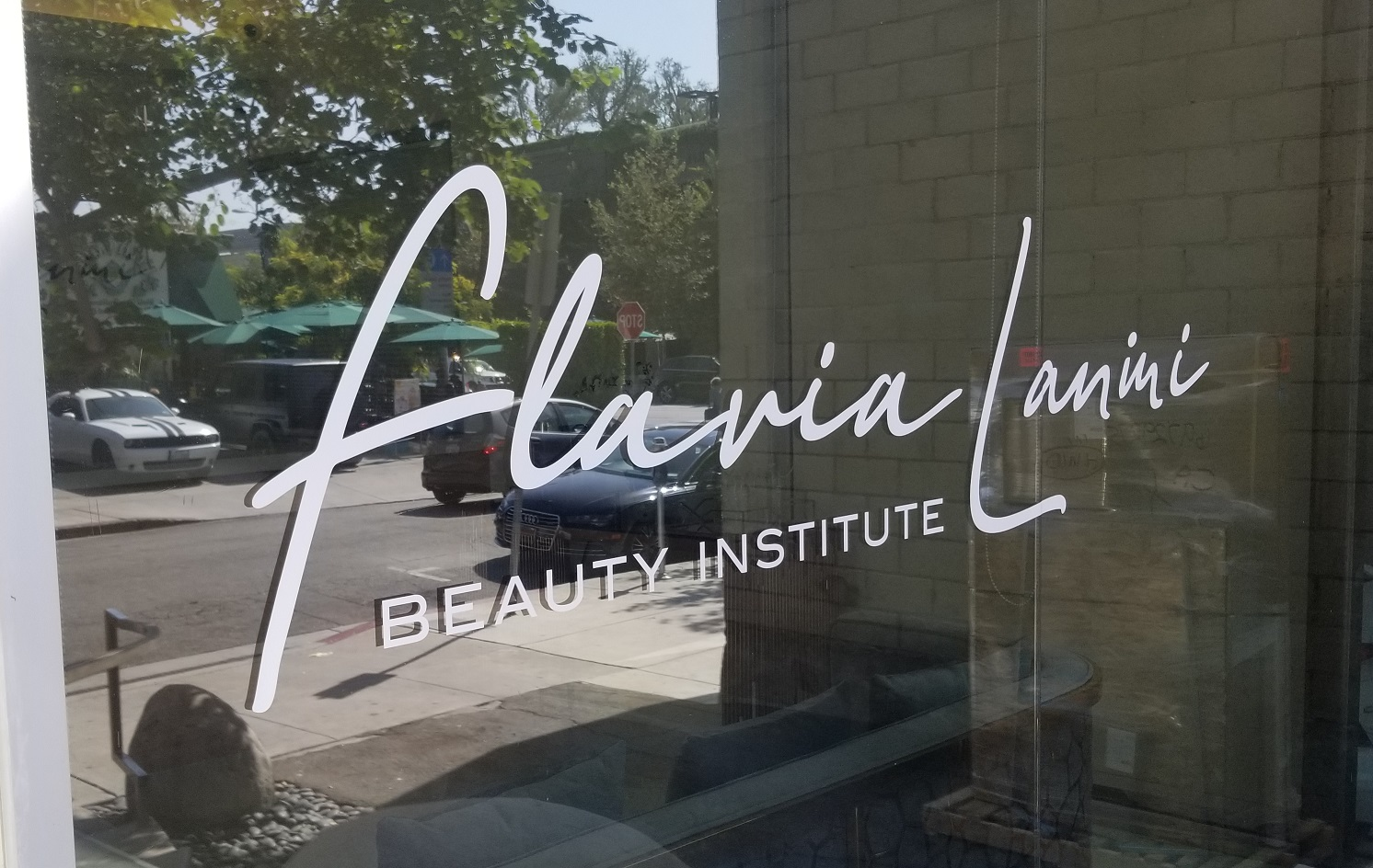 storefront window graphics, clinic window graphics, clinic sign, spa window graphics, spa sign, salon window graphics, salon sign, beauty salon, beauty spa, beauty clinic, Window Graphics, window lettering, Vinyl Window Signage West Hollywood, West Hollywood Sign Company, West Hollywood Outdoor Sign, Flavia Lanini West Hollywood Window Sign, Premium Sign Solutions Los Angeles, Los Angeles Sign Makers, Digital Printing Company West Hollywood