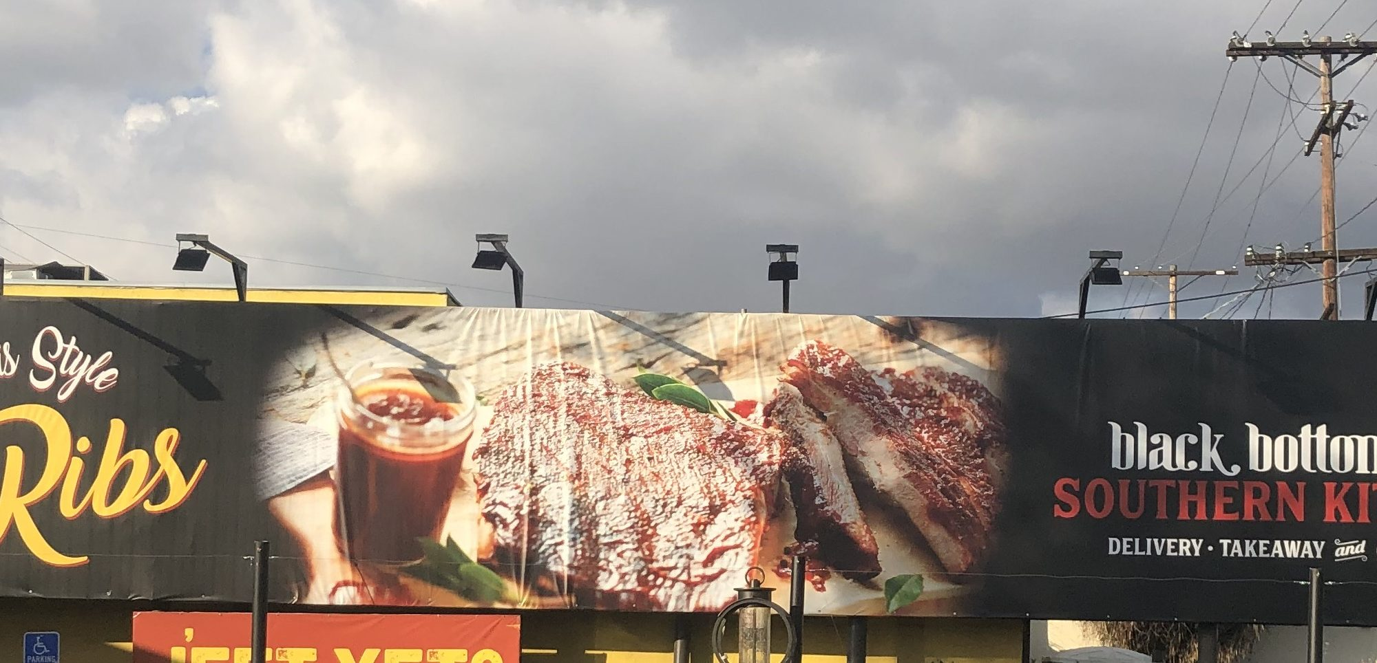 giant banner, Banner, Custom Banners San Fernando Valley, Business Sign Company North Hollywood, Business Banner, Black Bottom Kitchen Restaurant North Hollywood, Large Digital Banner North Hollywood, Restaurant Banner North Hollywood, Premium Sign Solutions Tarzana, San Fernando Valley Sign Company