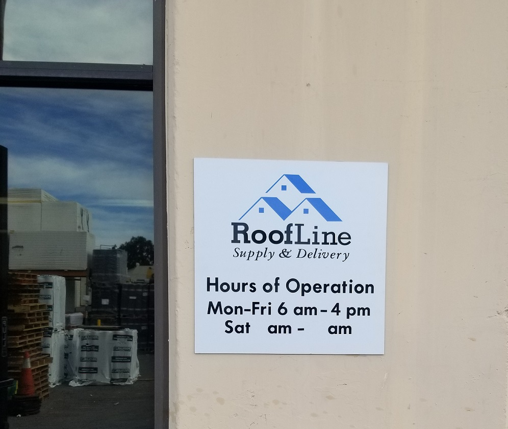 business hours signs, Business Sign, Front Door Sign, Business Hours Signage, Custom Metal Sign, Wayfinding Signage Orange County, Orange County Sign Company, Premium Sign Solutions Los Angeles, Los Angeles Sign Company, Sign Makers Santa Ana, Roofline Supply Exterior Sign Orange County