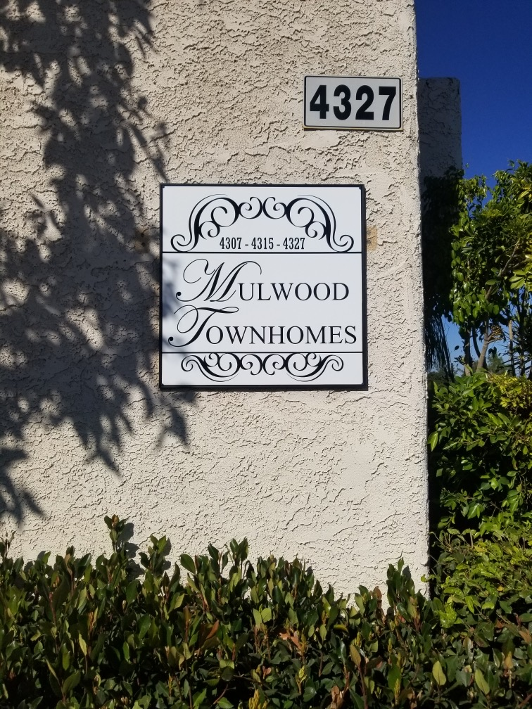 custom signs, hoa signs, mulwood townhomes, property management company, Custom Outdoor Sign, business signs, sign company, premium sign solutions, woodland hills signmaker, signmaker in woodland hills, woodland hills sign company, sign company in woodland hills