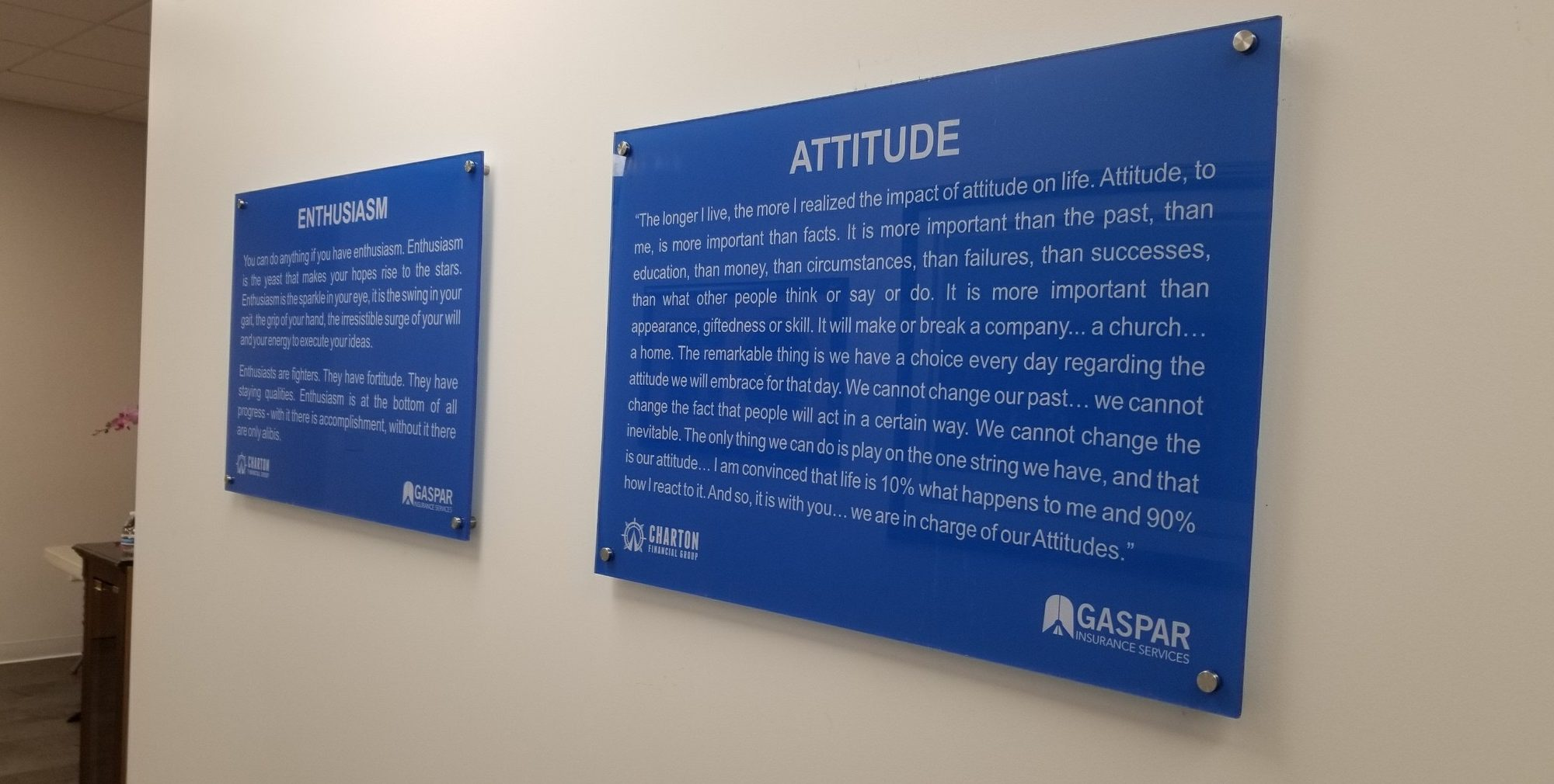 Wall Quotes Signs, gaspar insurance lobby sign, simi valley sign company, premium sign solutions los angeles, lobby sign company simi valley, wall sign simi valley, sign package for businesses