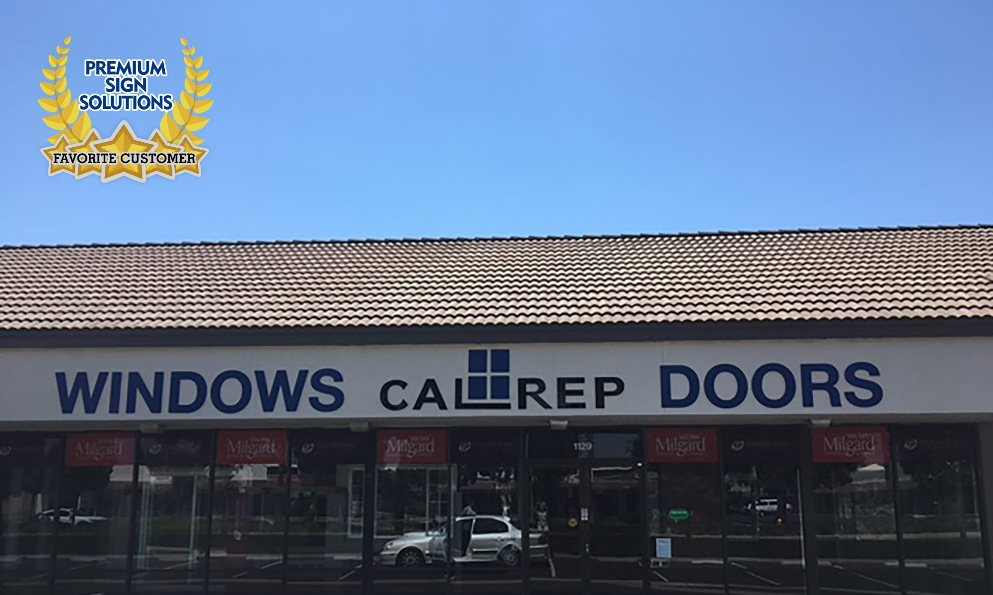 Photo: California Replacement Windows in Anaheim, Orange County with newly fabricated and installed Exterior Signage by Premium Sign Solutions.