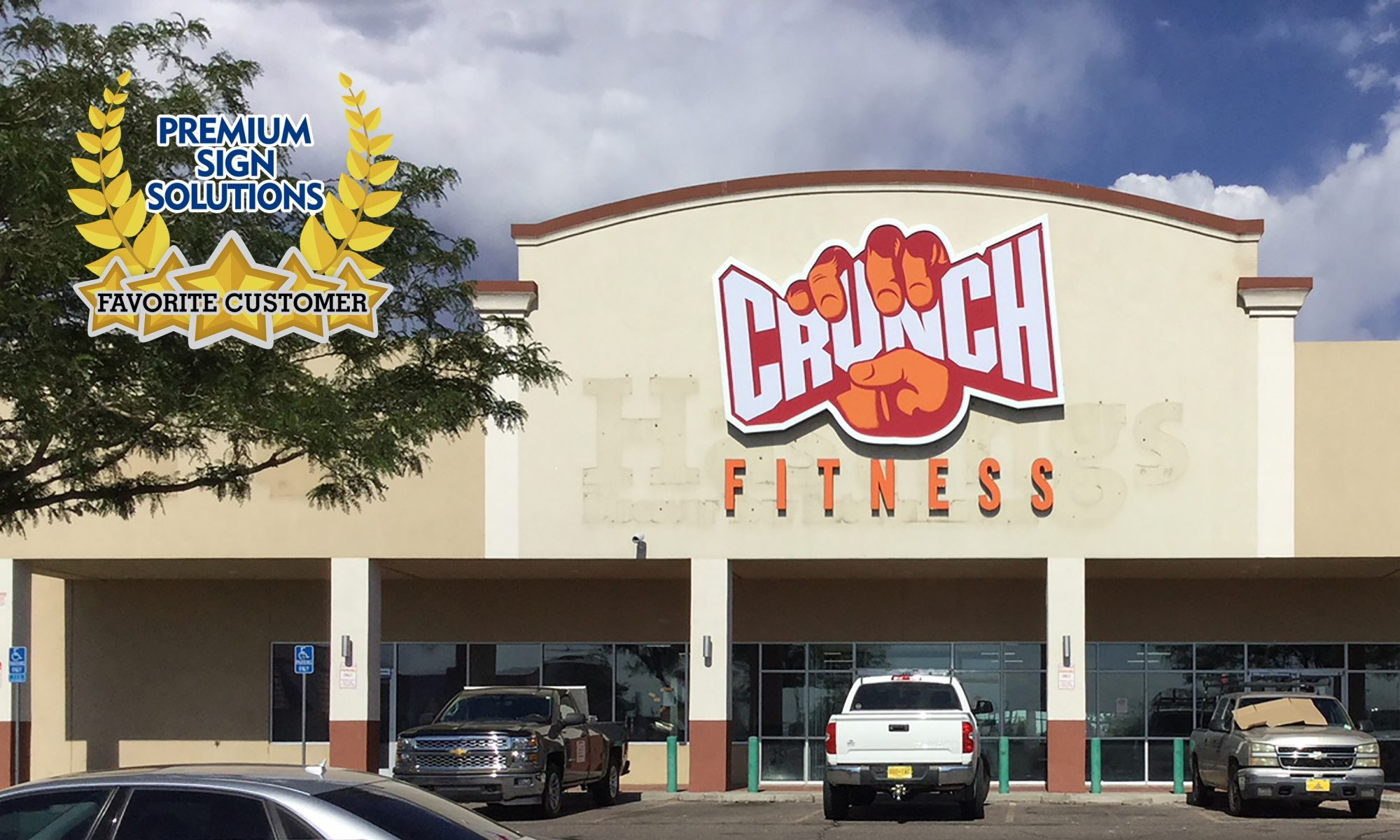 Photo: Crunch Fitness gym sign by Premium Sign Solutions. Crunch Fitness is one of our loyal and favorite customers and they are holding online classes so people can stay healthy and fit while being safely indoors.