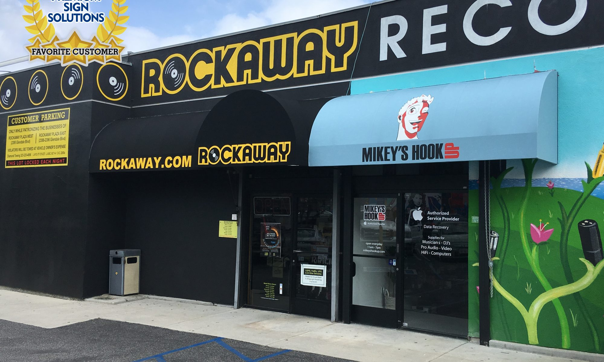 We were fortunate enough to make signage for Rockaway Records, namely an awning sign along with a number of metal parking lot and wayfinding signs