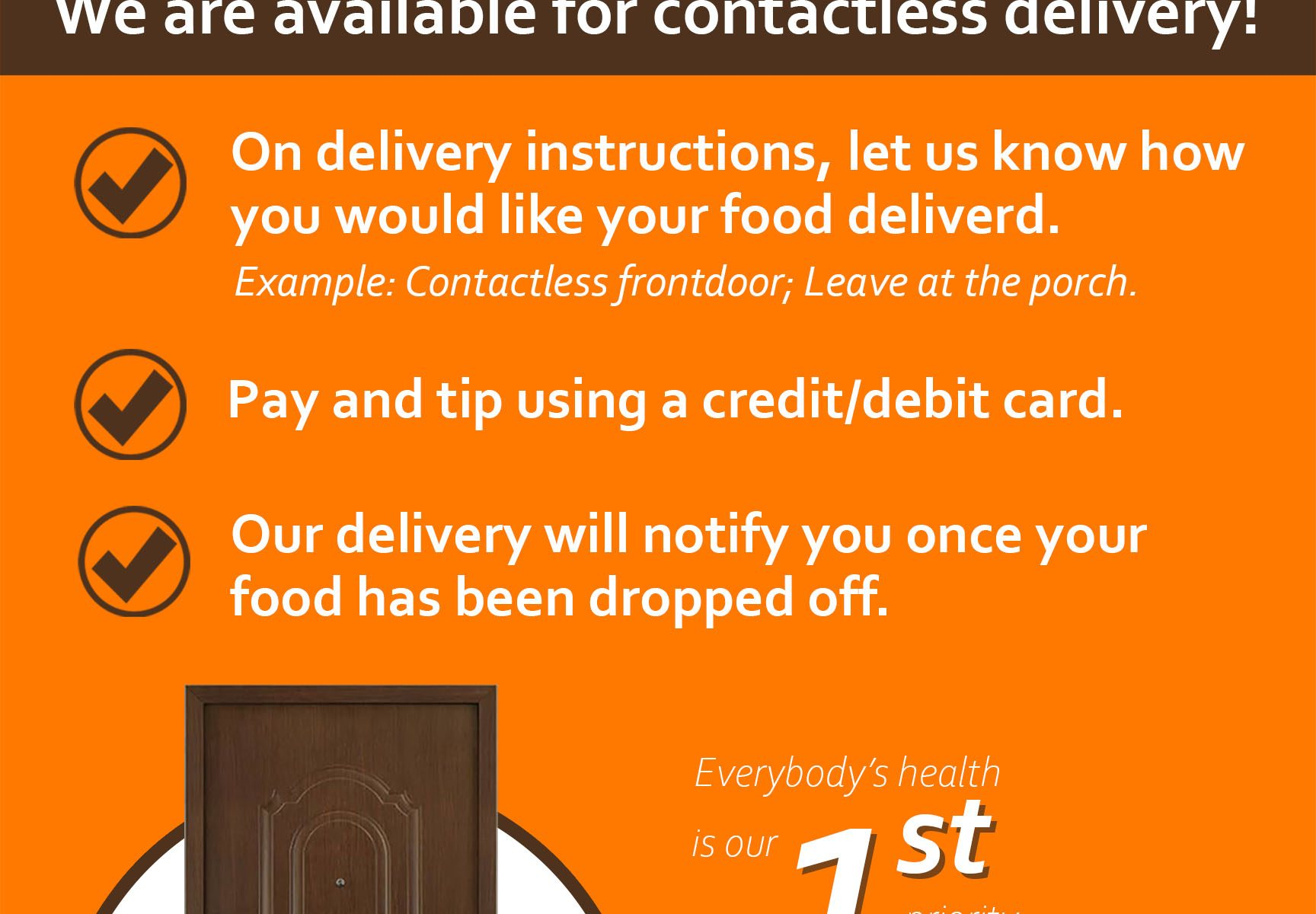 With delivery information signs that are visible and easy to read, stores and restaurants can make transactions more convenient for customers and delivery personnel as instructions and need-to-know details are made visible for all to see. These signs and banners will also help keep people safe and minimize the risks they face.