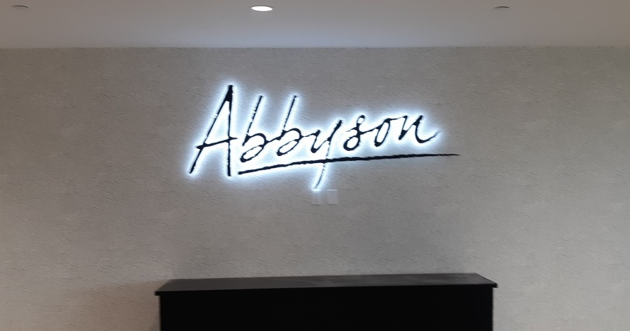 Part of a larger sign package we've been working on to decorate the Abbyson headquarters, the company asked us to install this backlit lobby sign.