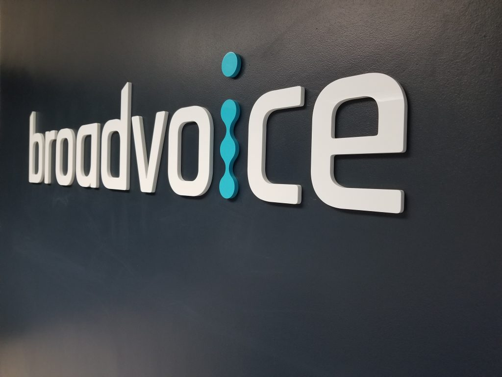 A new reception area sign for Broadvoice in Northridge. This kind of slick tech firm lobby sign is definitely a must have for those in the industry.