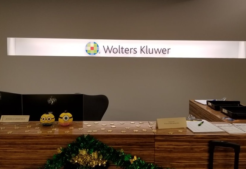 A company lobby sign is a must have for any office. Such as this one for Wolters Kluwer in Glendale.