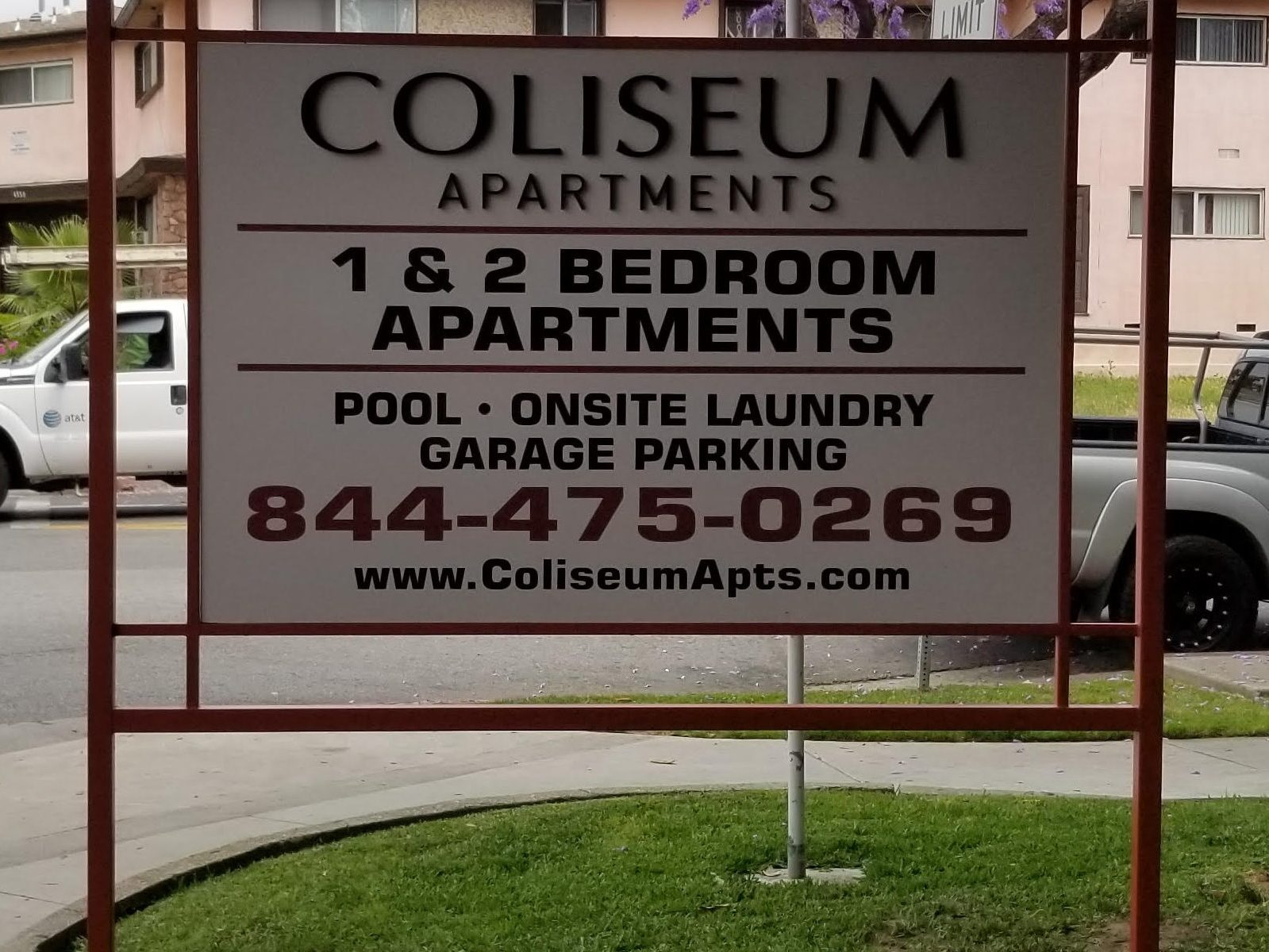 Monument post and panel sign for Coliseum Apartments. Now this Los Angeles community will be more visible with the signage putting it on the map!