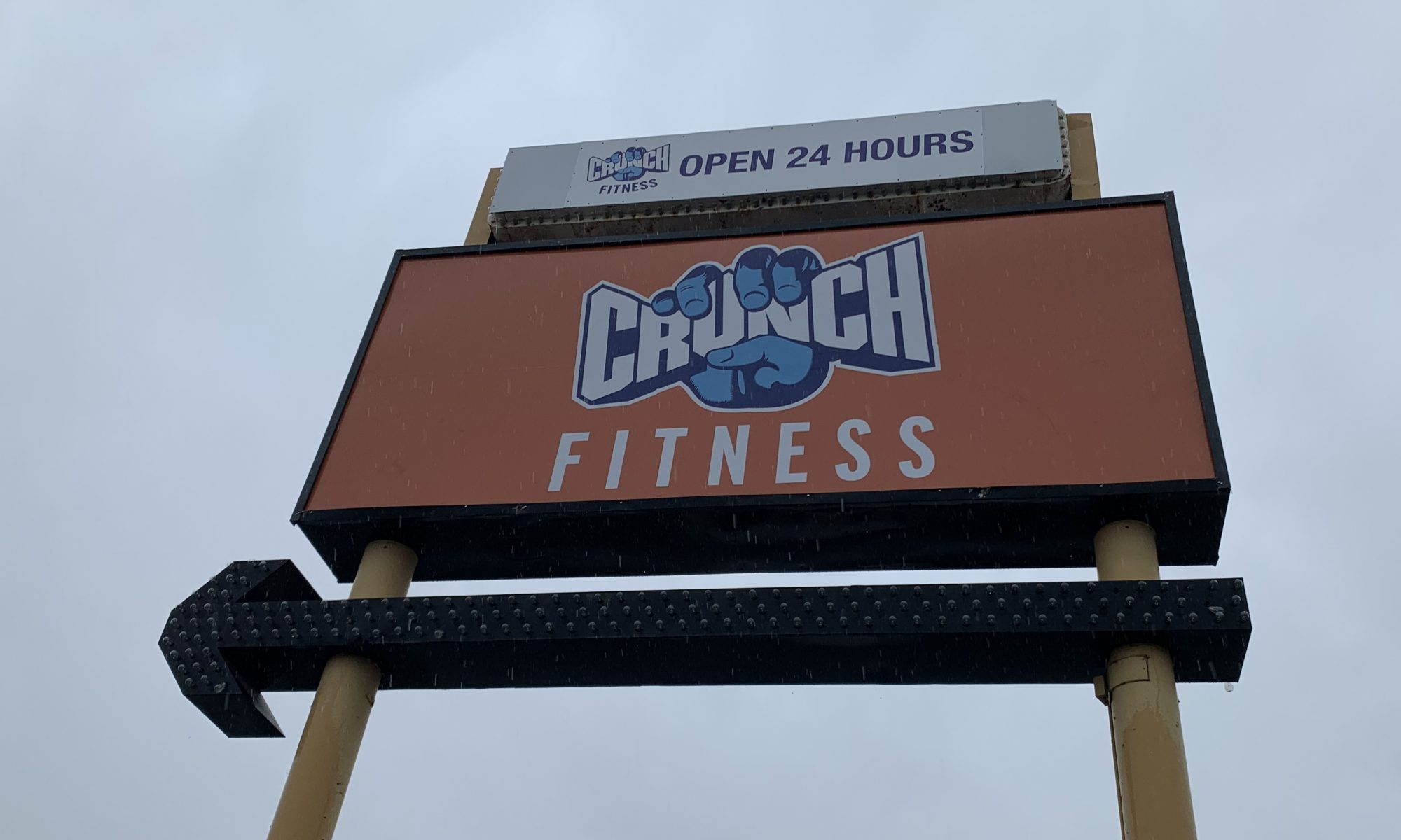 More signage for Crunch Fitness. This time it is their branch in Northridge, which is getting a new gym pylon sign insert installed.