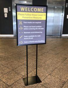 """Covid signs, social distancing signs and such are all part of the """"new normal."""" Like our COVID-Free custom standing sign for West Valley Medical Center."""