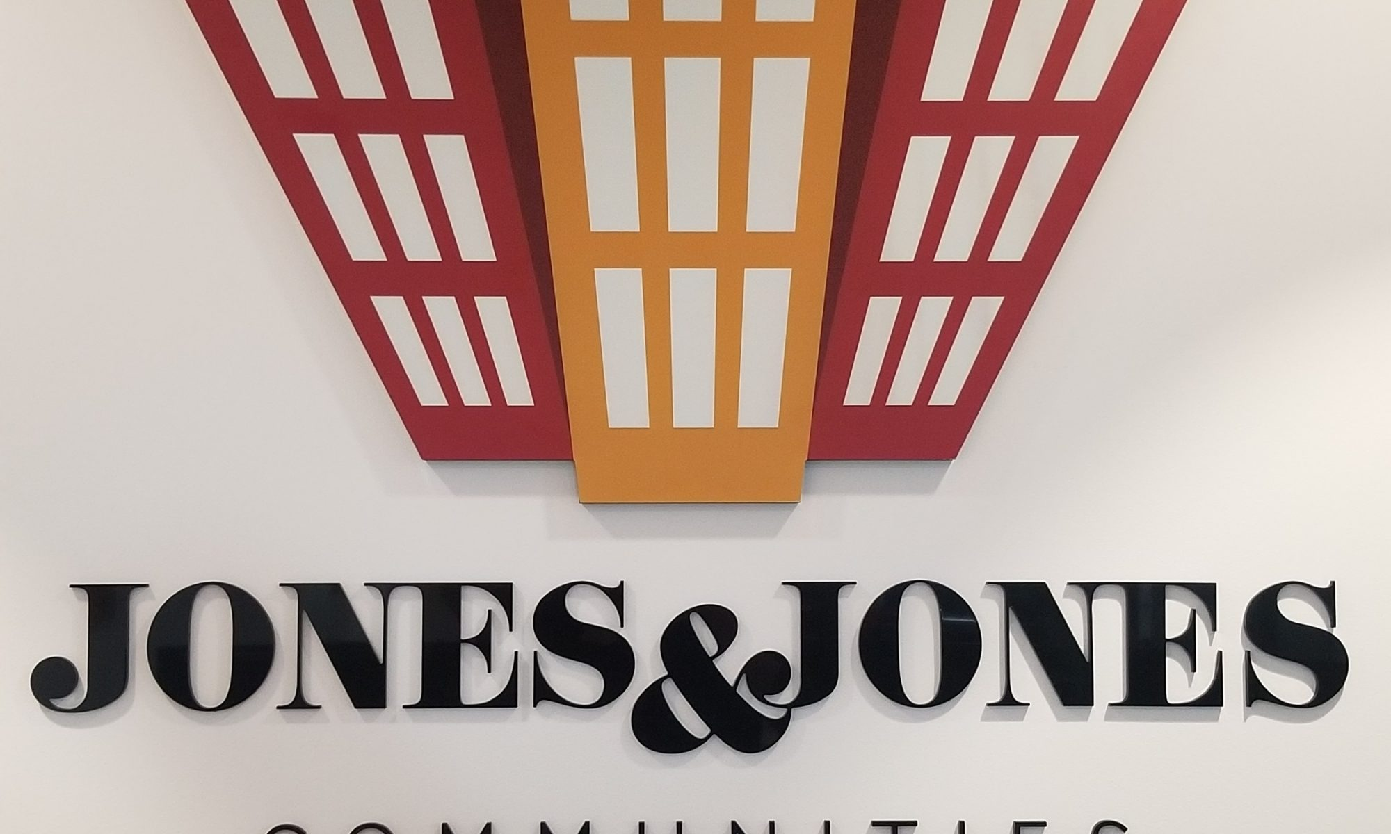 More office signage for the Jones and Jones, the Woodland Hills property management company, this time a bullpen acrylic lobby sign.