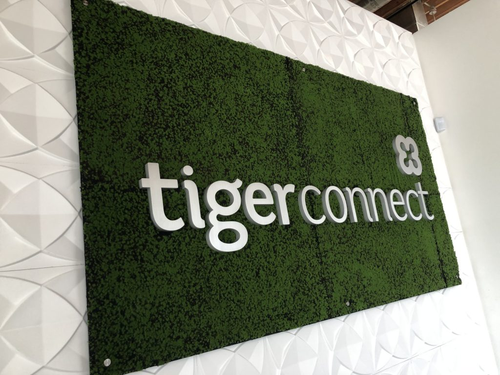 This lobby sign project included prismatic background wallpaper. So now Tiger Connect's Santa Monica office looks complete!