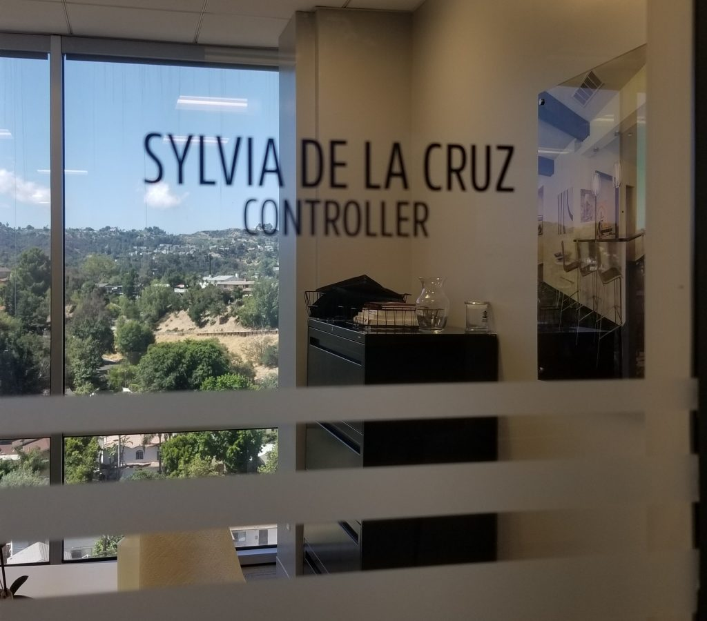 Part of the ongoing Jones and Jones Woodland Hills branch sign package, every office also got employee name office window graphics.