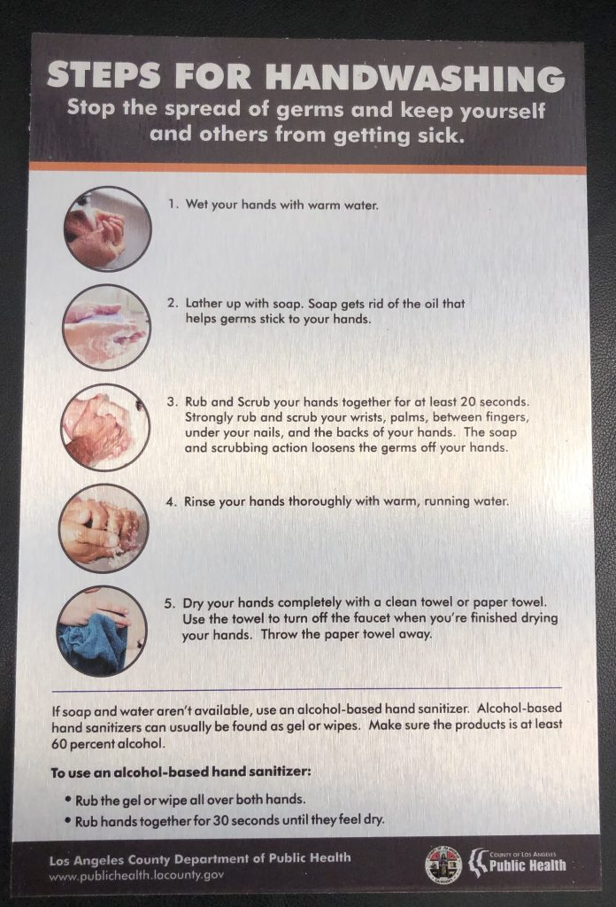 This is the custom brushed metal COVID handwashing instruction sign for Ethan Christopher.