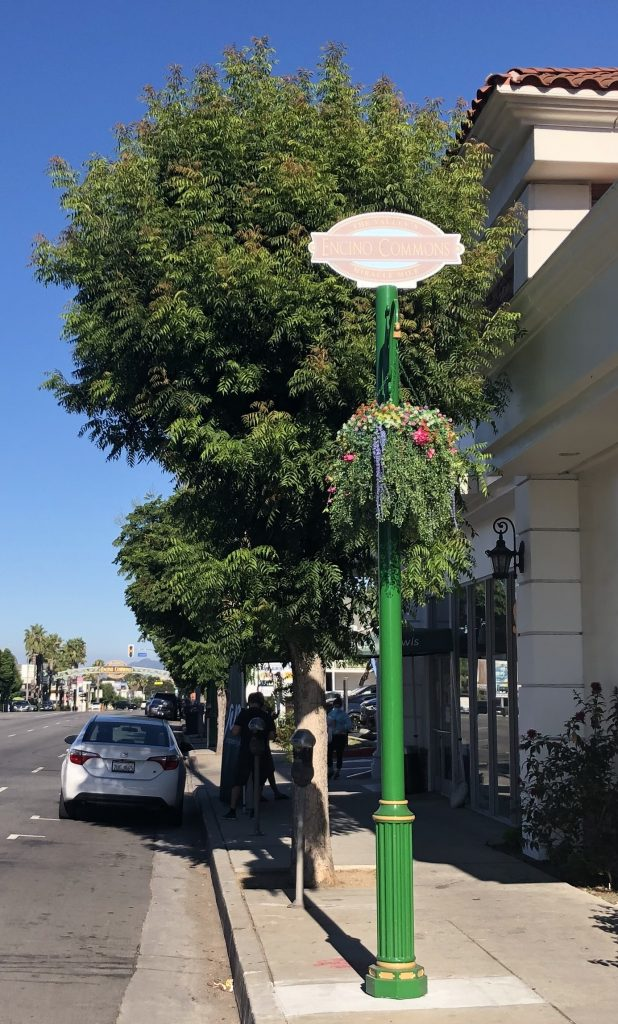 We designed 35 custom pole signs to help identify Encino's Business Improvement District. The signs were placed atop existing decorative posts.