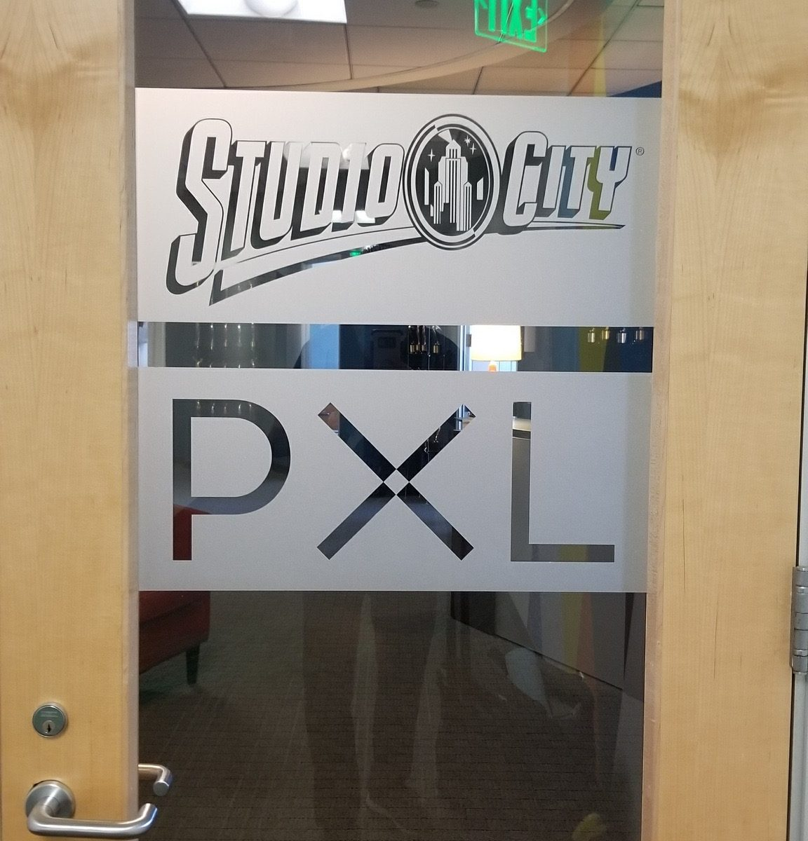 This is the office door etched glass vinyl sign we installed for Studio City in Los Angeles.