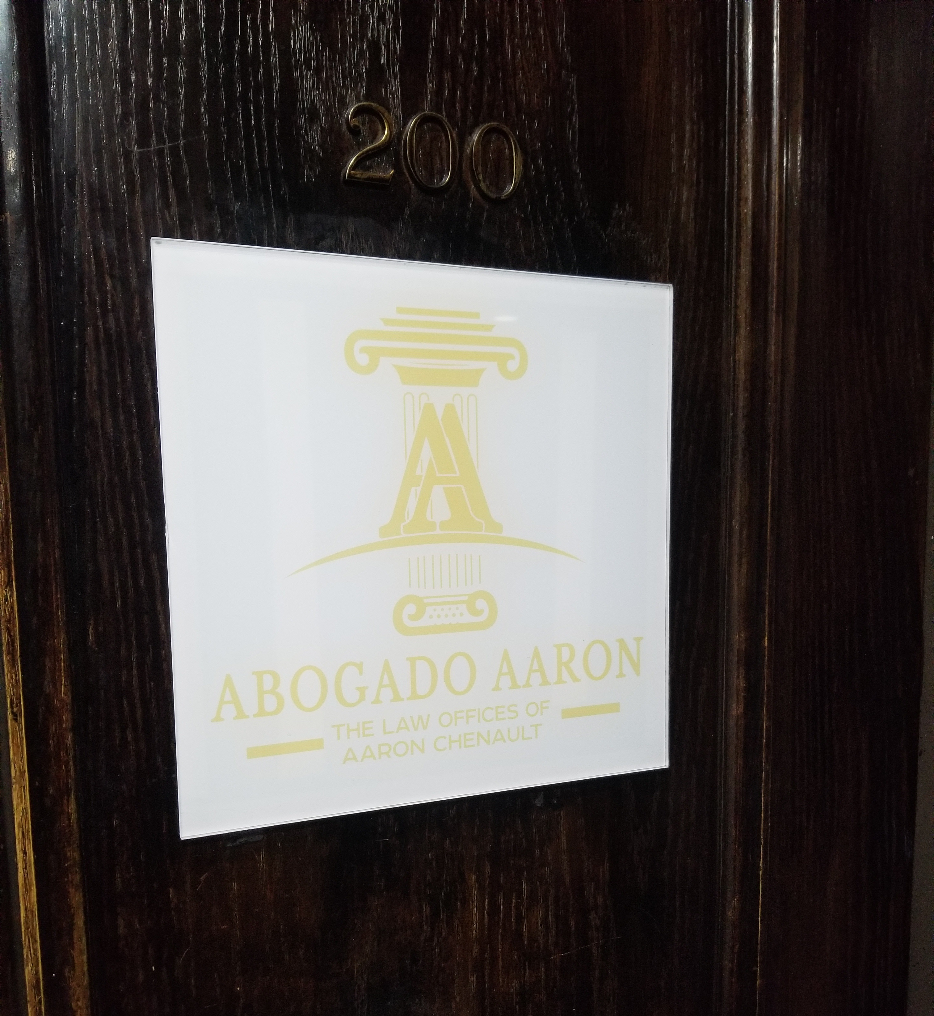 This is the custom gold lobby sign we made for Abogado Aaron in Los Angeles as part of a wider office design package for the Los Angeles law firm.