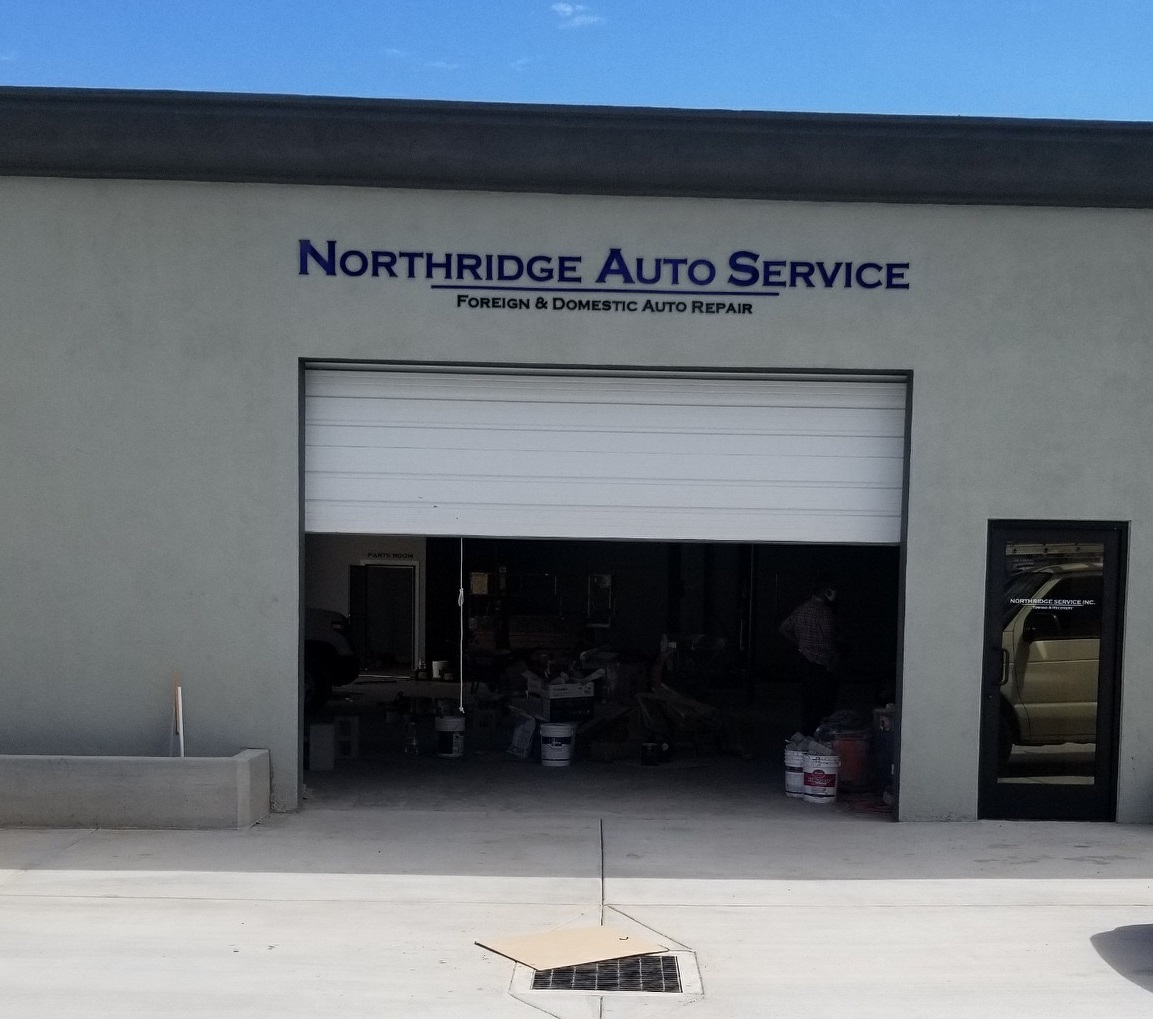 Our dimensional letters sign package for Northridge Auto Service includes the main signage for their storefront. Premium Sign Solutions - Southern California Sign Company.