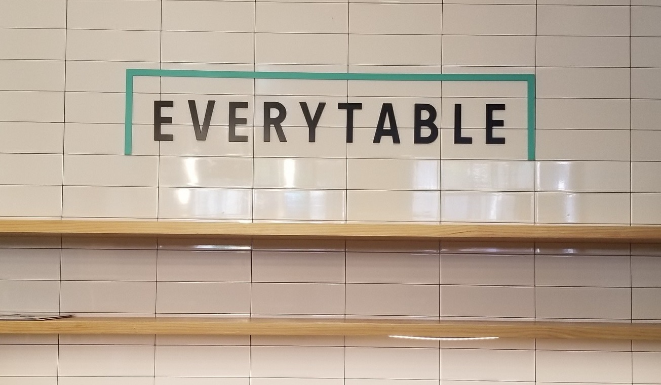 This restaurant lobby sign we made for Amazon in Santa Barbara is for the Everytable eatery that shares the building with them.