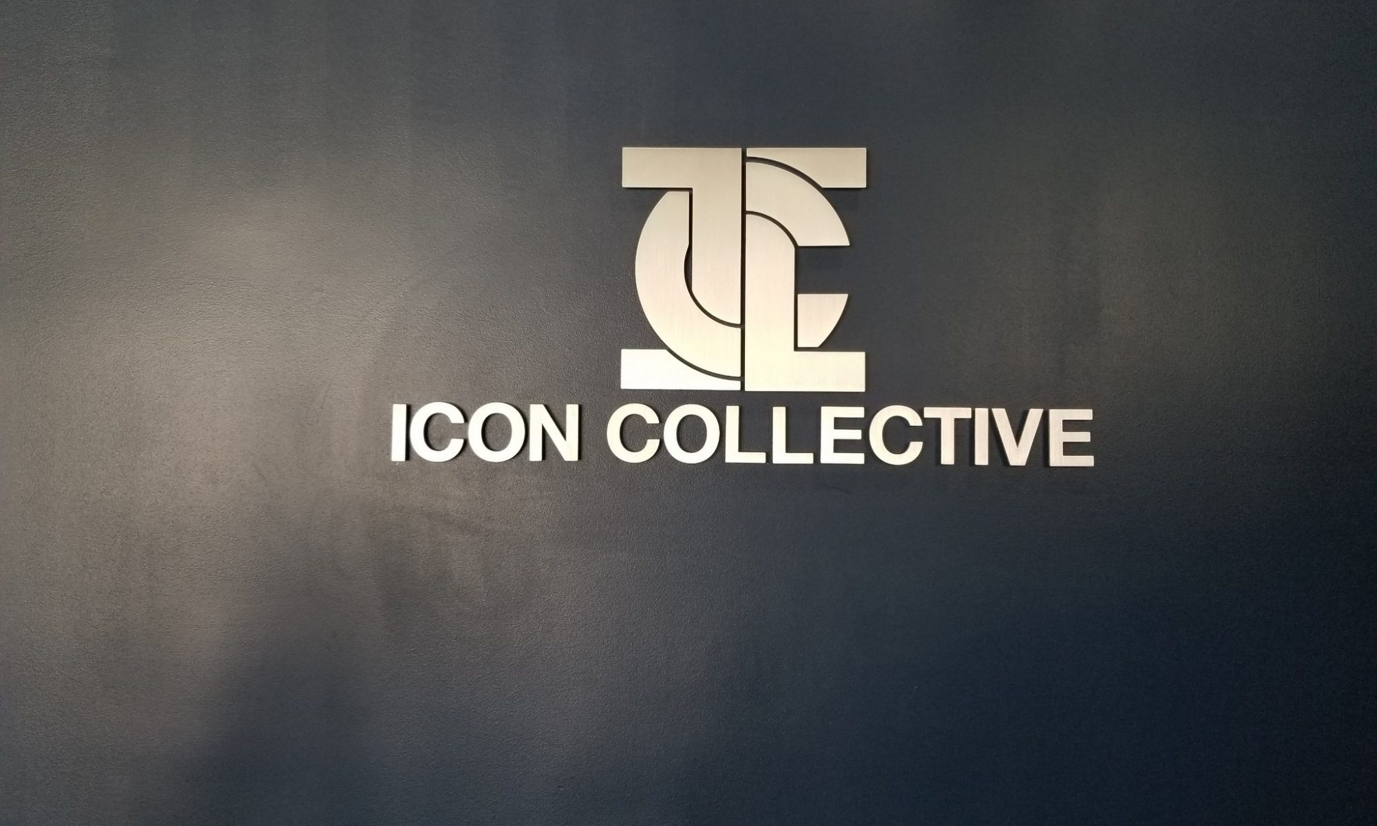 This is our metal school lobby sign for Icon Collective, part of a large outdoor and indoor business sign package we've created for the Burbank school.