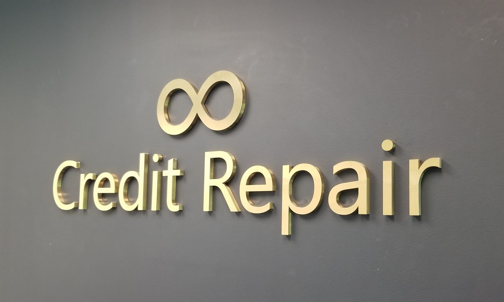This is the metal office lobby sign we made for Unlimited Credit Repair in Woodland Hills.