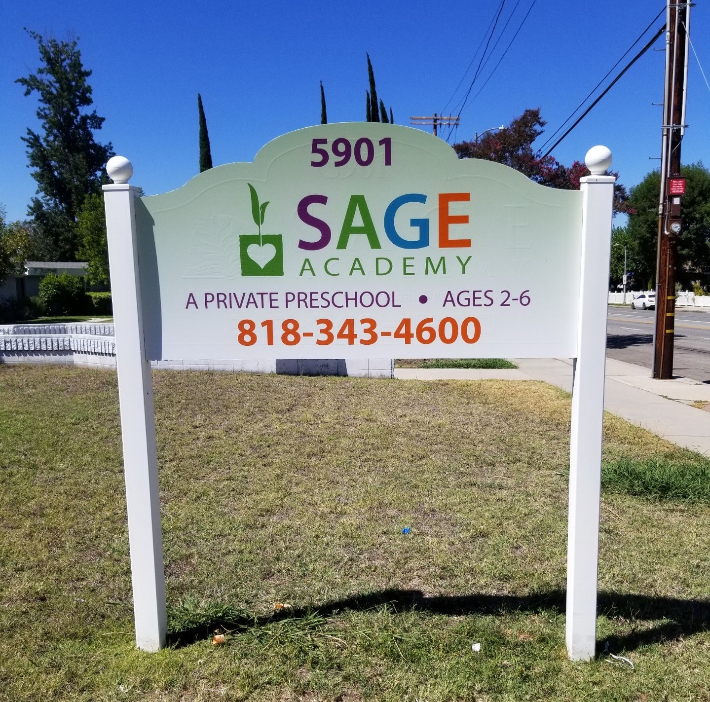 Another school, another streetside post and panel sign. This time it is for Sage Academy. It's great for welcoming students and parents back.