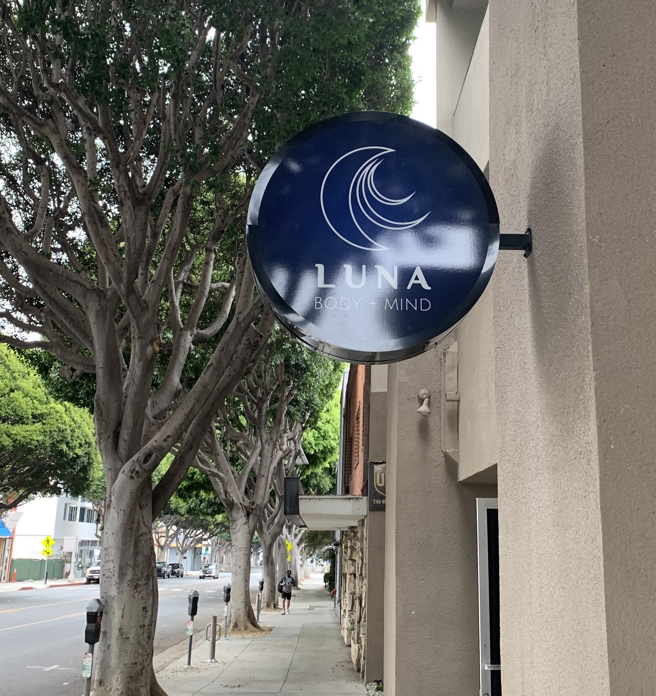 Health spas, salons and clinics need to have good-looking signage that reflects their services. Like this blade sign for Luna Wellness.