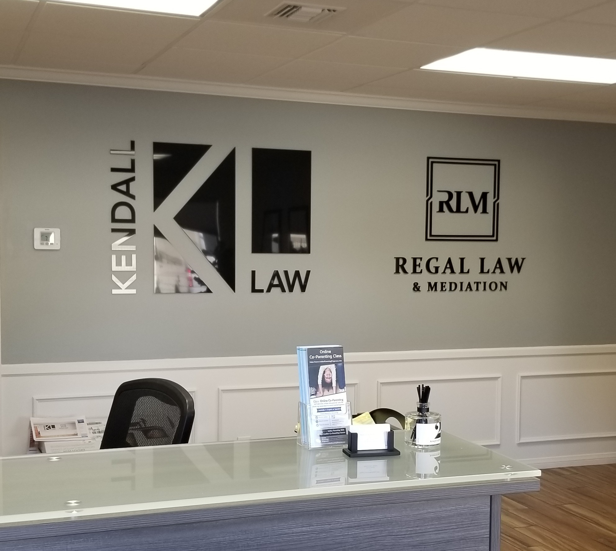 These law firm lobby signs for the offices of Kendall and Regal in Torrance who share an office. Now they stand out equally!