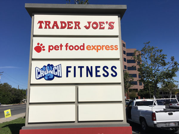 Pylon Sign with Acrylic Insert Push-Through Acrylic Multi-Tenant Long Beach Gym Sign Package Los Angeles Sign Company Premium Sign Solutions Southern California Sign Makers