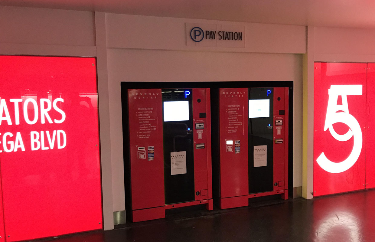 Beverly Center Pay on Foot Kiosks Vinyl Lettering and Full Color Wrap in Red