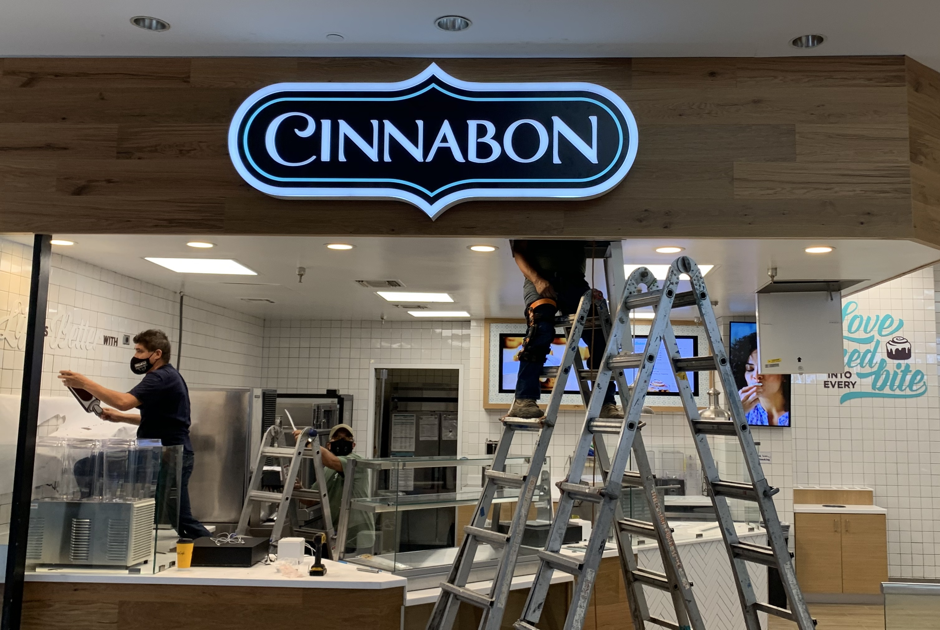 Part of a business sign package for Cinnabon in Del Amo Mall in Torrance in partnership with TubeArt. It includes 2 sets for channel letters.