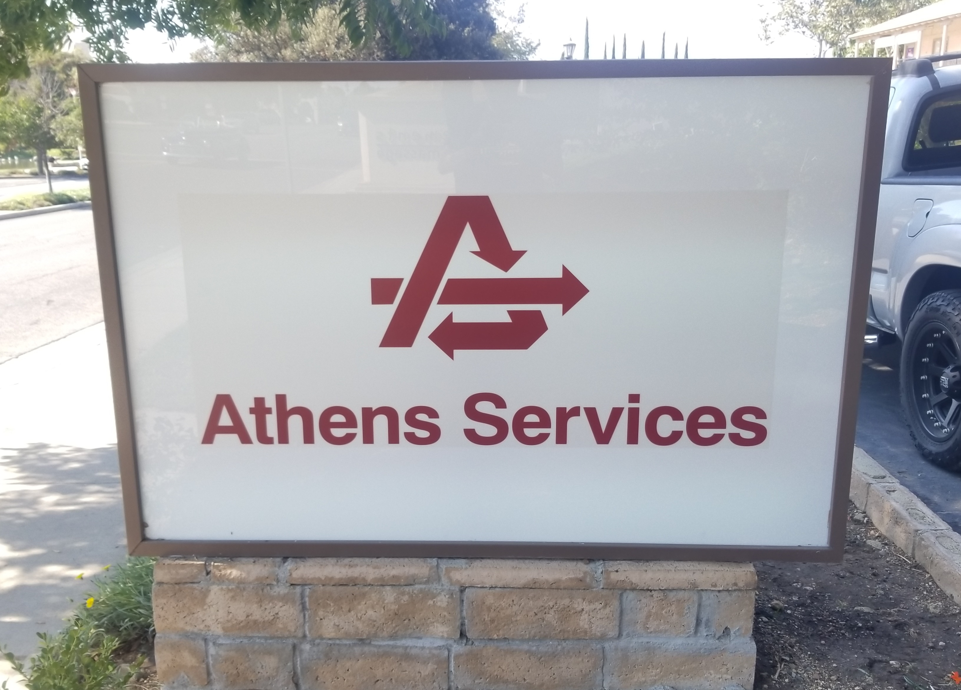 These are the monument sign lightbox inserts we made for Athens Services. The inserts are for the Thousand Oaks' monument sign that we built a year ago.