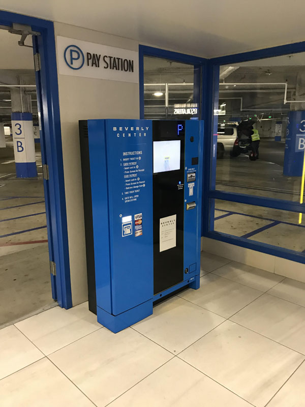 Pay On Foot Kiosk in Full Color Wrap in Blue