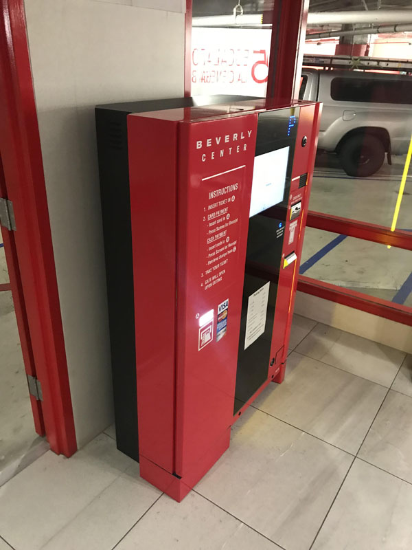 Pay on Foot Kiosk in Full Color Wrap in Red