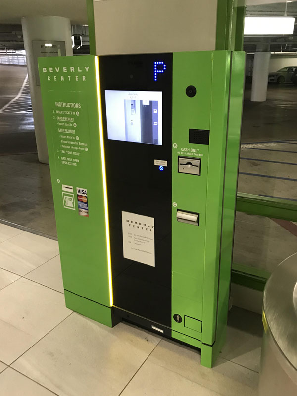 Pay on Foot Kiosk in Full Color change wrap in Green