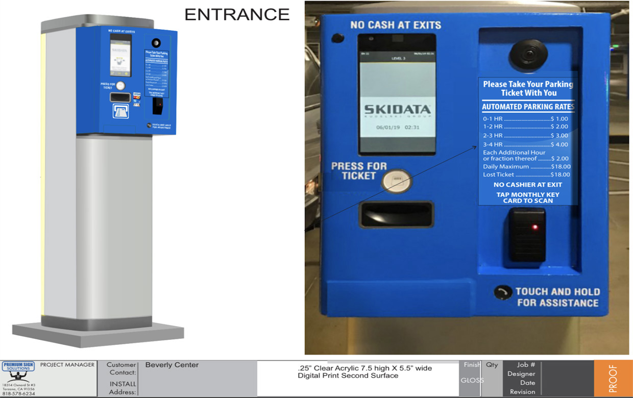 Entry and Exit Kiosks at Beverly Center Parking Lot Structure Full Color Change Vinyl Wrap Blue Los Angeles Mall Premium Sign Solutions Sign Makers Southern California San Fernando Valley Beverly Hills