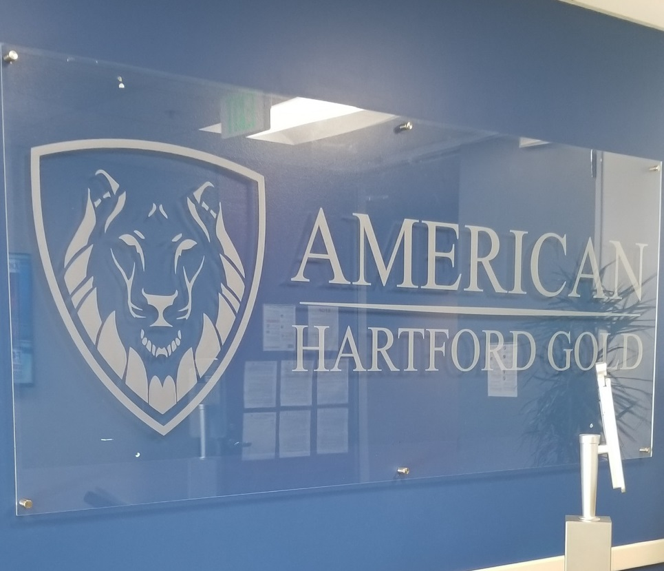 We made two acrylic panel corporate lobby signs for American Hartford Gold, one for their West Los Angeles office and one for their Woodland Hills office.