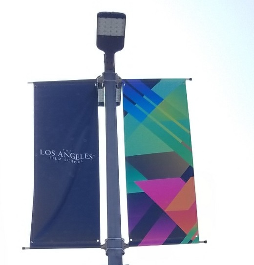 School pole banners for LAFS, enhancing their Hollywood campus' frontage. So the Los Angeles Film School looks even more impressive and welcoming.
