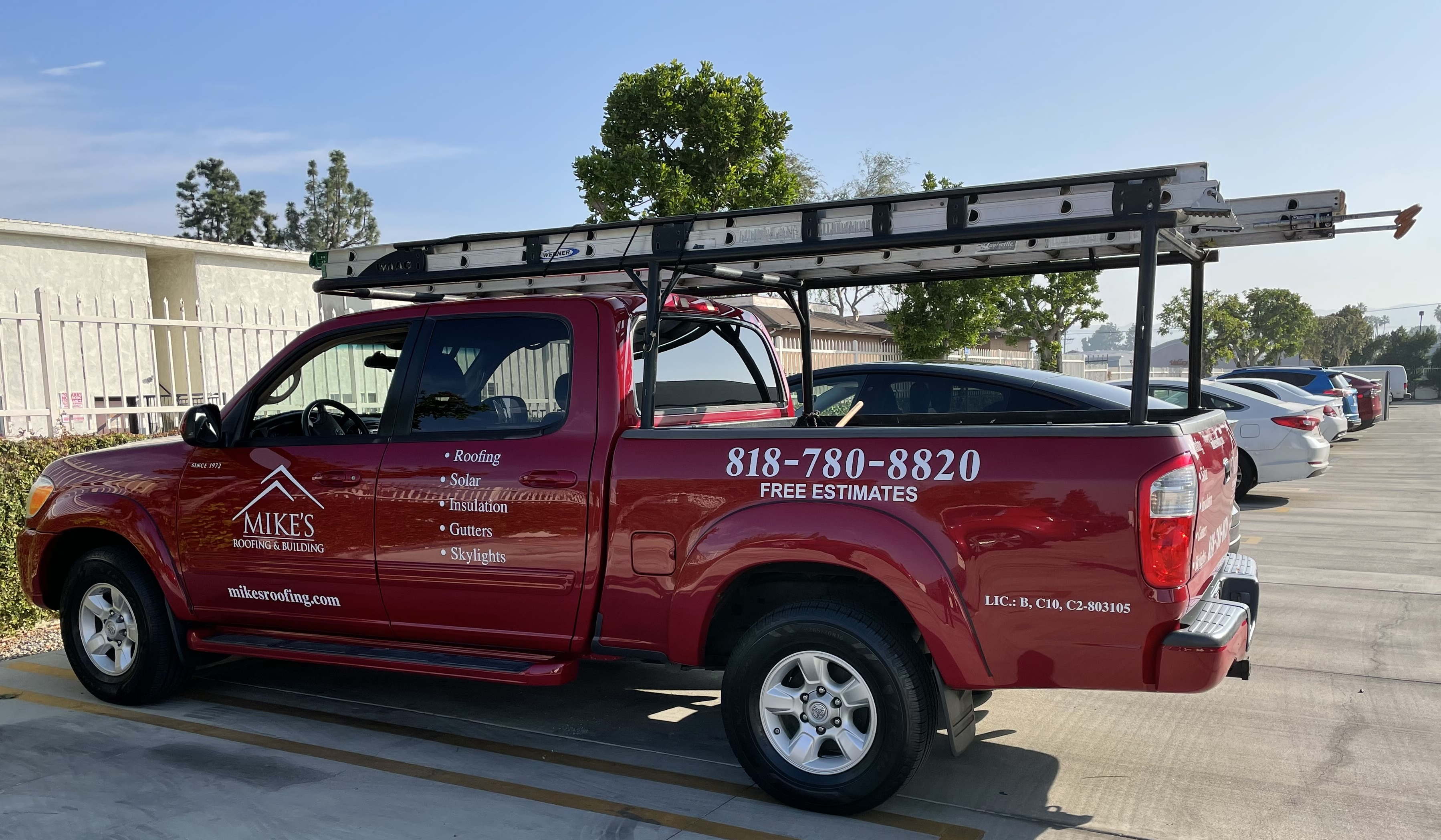 We provided vehicle lettering for Mike's Roofing in Van Nuys. With these service vehicle graphics, they can advertise AND meet customers' needs simultaneously!