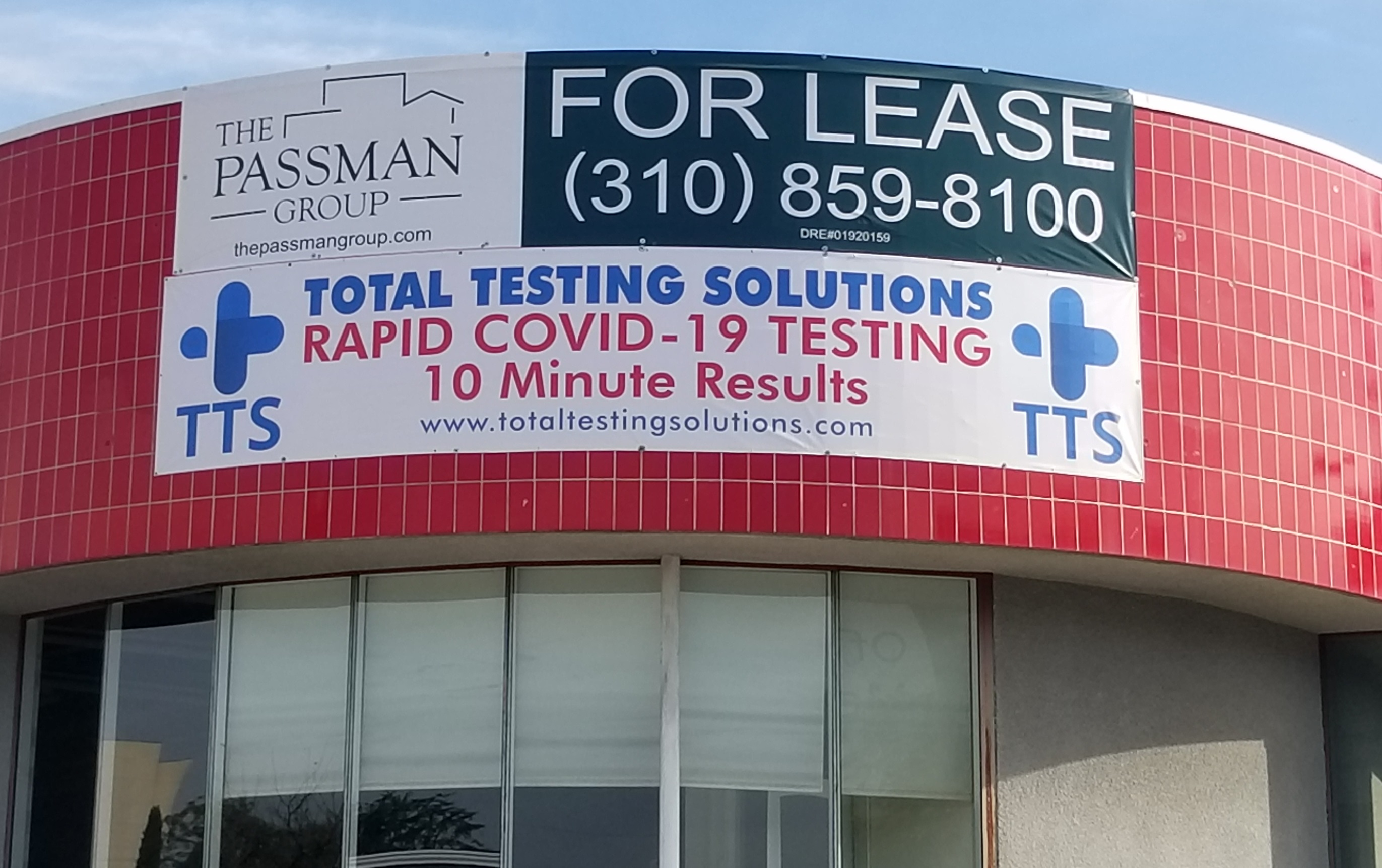 Raising awareness about COVID-19 testing facilities is important. Hence these large banners for Total Testing Solution's site in Studio City.