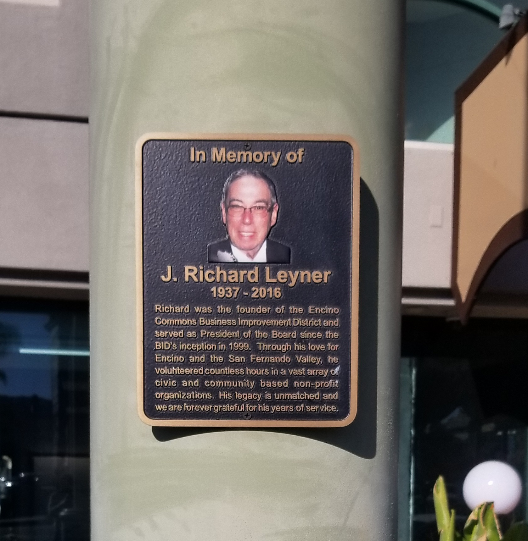 This is the bronze dedication plaque for Valley legend J. Richard Leyner that we fabricated and installed in the Encino Commons.