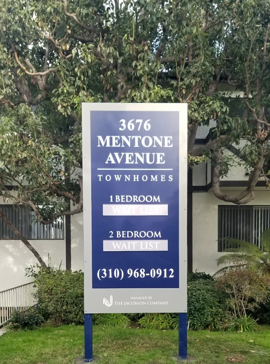 This real estate post and panel sign is for our friends at the Jacobson Company, displaying their Mentone Avenue apartments in Los Angeles.