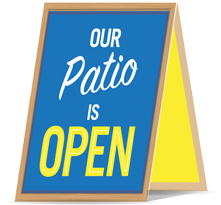 Outdoor or patio dining allows customers to enjoy their favorite restaurants, bars or cafes safely. Establishments can advertise it with Outdoor Dining Signs.