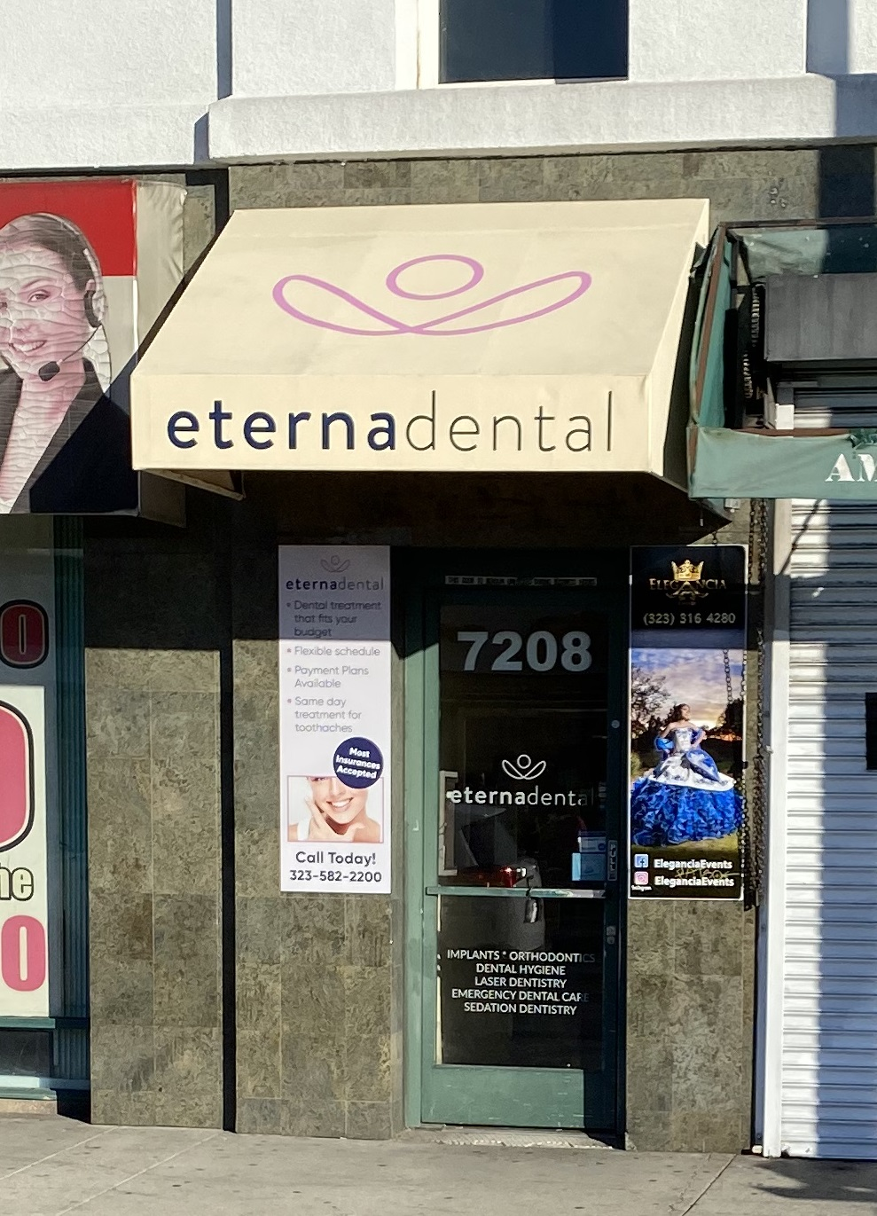 Part of our business sign package and office design package for Eternadental. This is an awning sign for their front door.