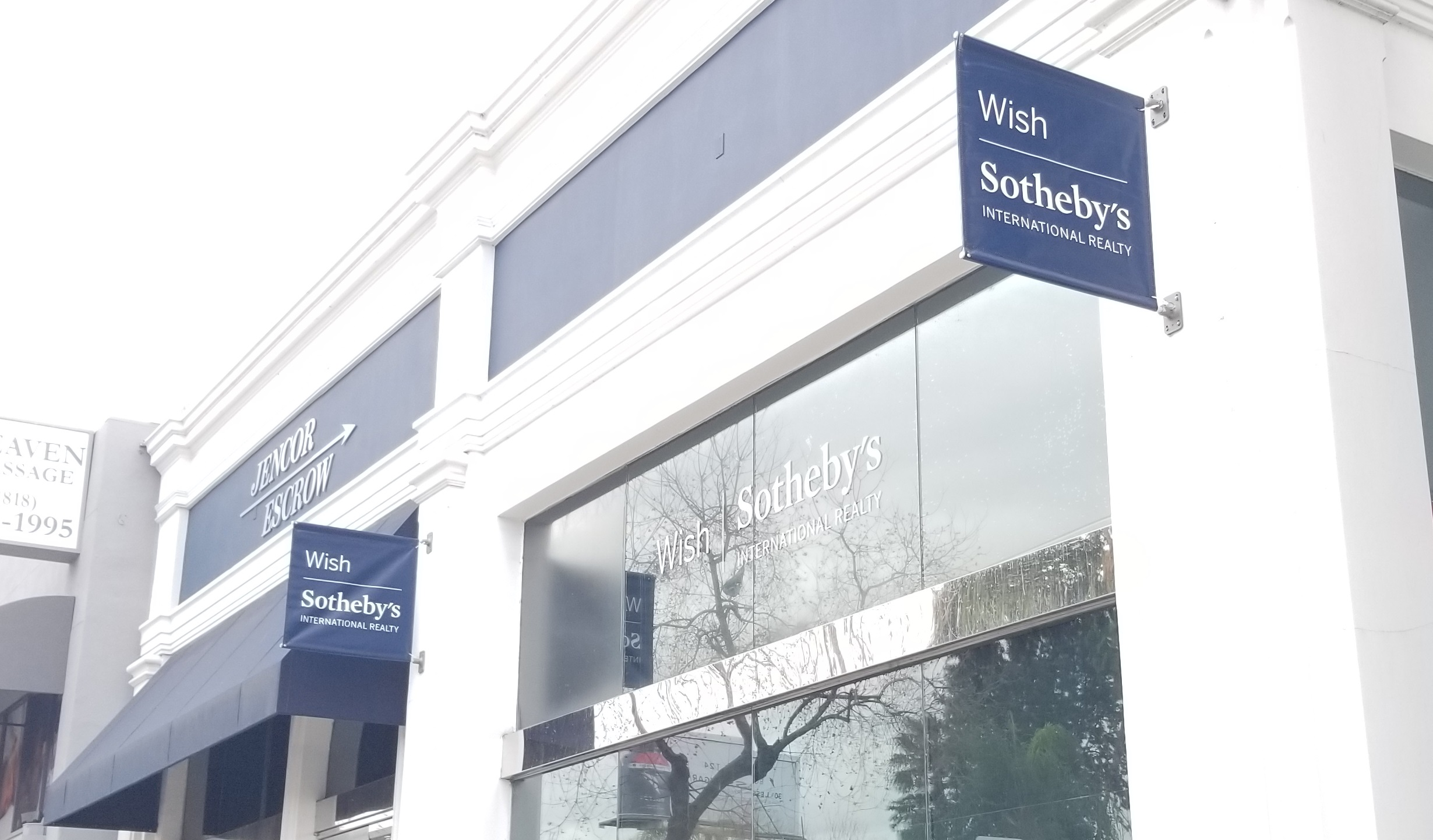 We made and installed two pole banner banners for Wish Sotheby's Sherman Oaks building. With these their entrance will be all the more attractive to customers.