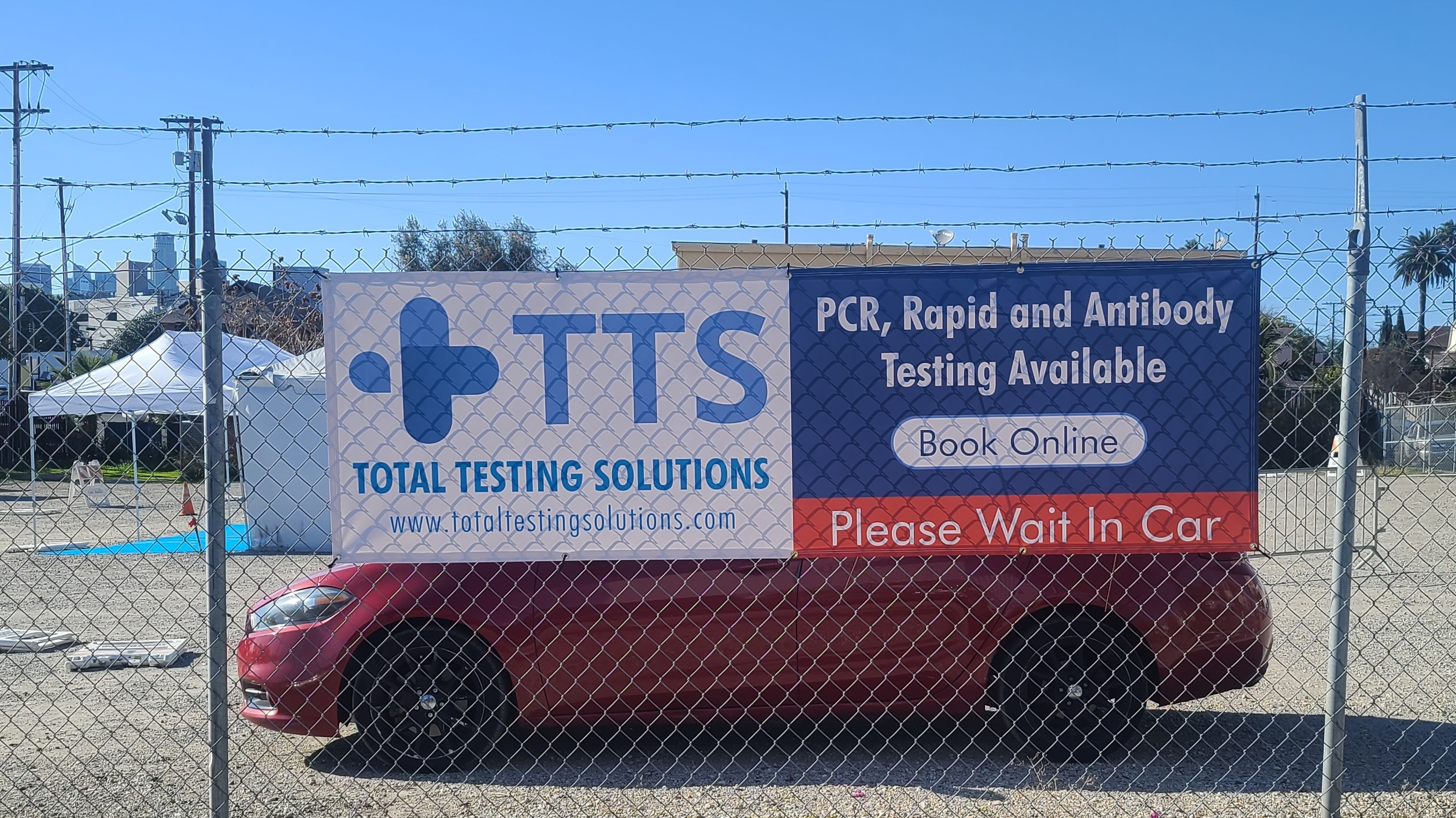 Here are two smaller custom banners for Total Testing Solutions' downtown Los Angeles location. These are part of the extensive sign package.