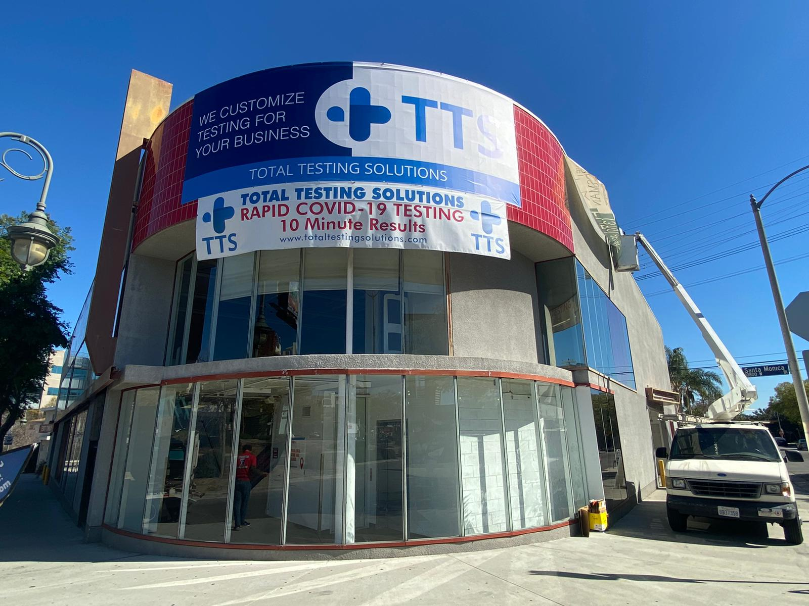 This is the giant banner and smaller banner we fabricated and installed for Total Testing Solutions' West Los Angeles location.
