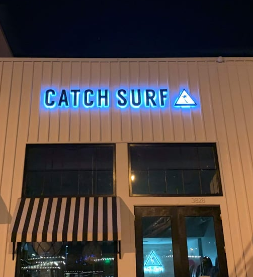 We made halo-lit channel letters for Catch Surf in Malibu. A cool surfboard supplying deserves eye-catching signage that will make their brand stand out!