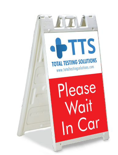 We made plasticade A-frame signs for the parking lots of Total Testing's North Hollyood, LA and Austin, Texas locations.